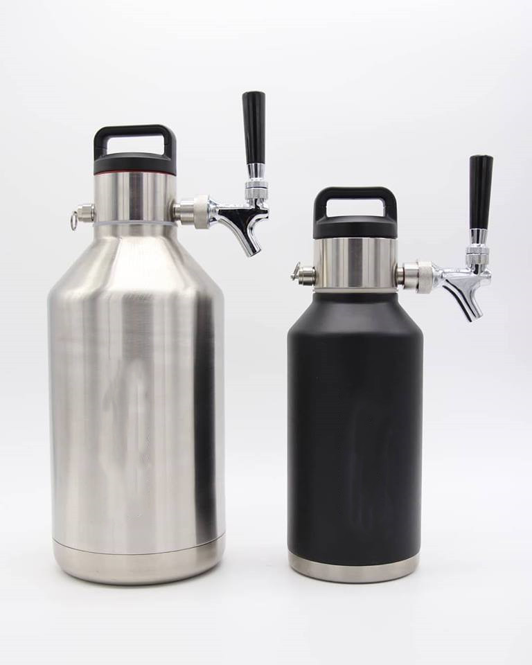 Premium Stainless Gallon Growlers Package With Chrome Tap